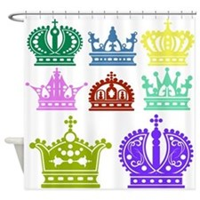 Colored Crown Silhouette Collection Shower Curtain