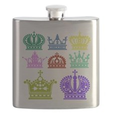 Colored Crown Silhouette Collection Flask