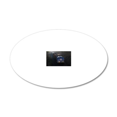 Blue Line Train 20x12 Oval Wall Decal