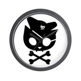 Pirate Kitty Captain Cat Wall Clock