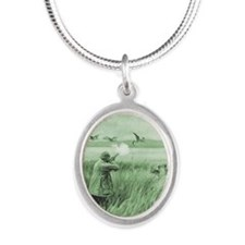 Hunting Wild Geese Silver Oval Necklace