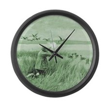 Hunting Wild Geese Large Wall Clock