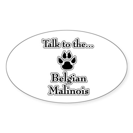 Malinois Talk Oval Sticker