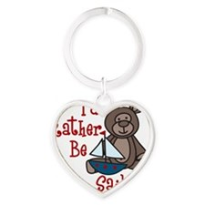 Rather Be Sailing Heart Keychain
