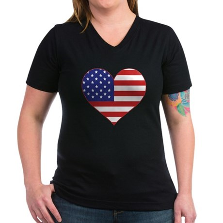 Stars & Stripes Heart Women's V-Neck Dark T-Shirt