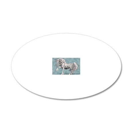White Tiger Unicorn 20x12 Oval Wall Decal