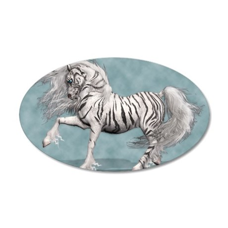 White Tiger Unicorn 35x21 Oval Wall Decal