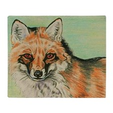 Red Fox headstudy Throw Blanket