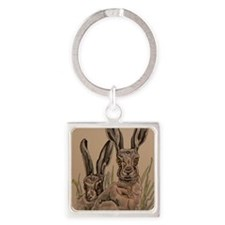 Two Hares Square Keychain