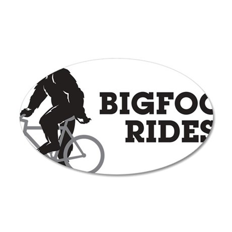 Bigfoot Rides 35x21 Oval Wall Decal
