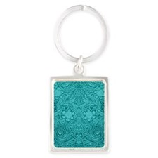Leather Look Floral Turquoise Portrait Keychain