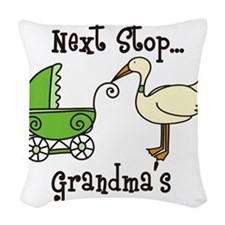 Next Stop Grandmas Woven Throw Pillow