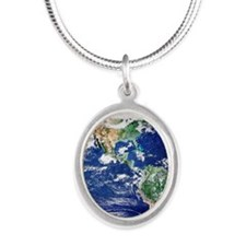 Earth from space, satellite i Silver Oval Necklace