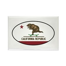 California Skateboarding Bear Fla Rectangle Magnet