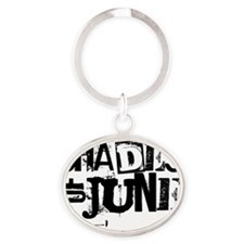 Black Stamp Logo Oval Keychain