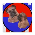 Bull Mastiff Mom & Puppy Tile Coaster