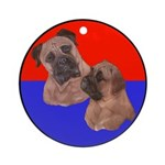 Bull Mastiff Mom & Puppy Ornament (Round)