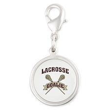 Lacrosse Goalie Silver Round Charm