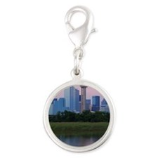 Dallas skyline reflected in wa Silver Round Charm