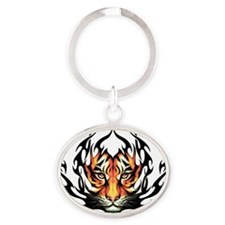 Tribal Flame Tiger Oval Keychain