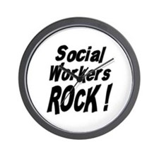 Social Workers Rock ! Wall Clock