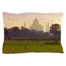 Birds take flight near Taj Mahal Pillow Case