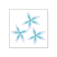 "Dancing Blue Flowers Square Sticker 3"" x 3"""