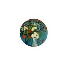 Vase With Cornflowers And Poppies Mini Button