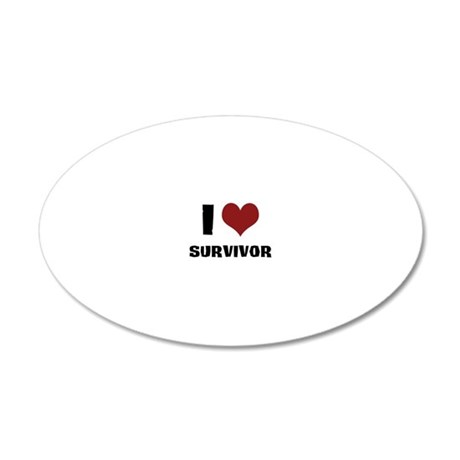 I Love Survivor 20x12 Oval Wall Decal