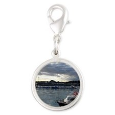 boat4 Silver Round Charm