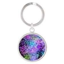 Disco Mirrors in Purple and Green Round Keychain