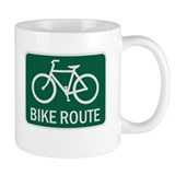 Bike Route Road Sign Small Mug
