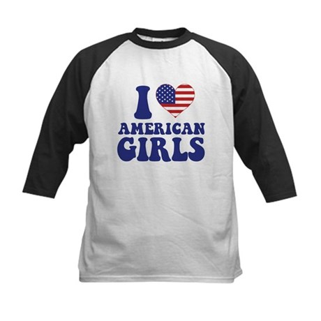 Love American Girls Kids Baseball Jersey