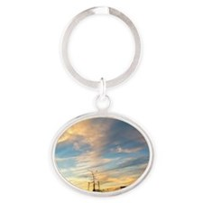 Watching the Sunset Oval Keychain