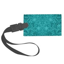 Leather Look Floral Turquoise Luggage Tag