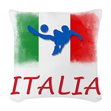 Italian World cup soccer Woven Throw Pillow