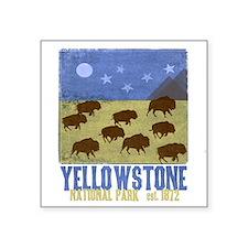 """Yellowstone Bison Scene Square Sticker 3"""" x 3"""""""
