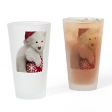 Polar Bear Cub Christmas Drinking Glass