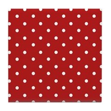 Red and White Polka Dots Tile Coaster