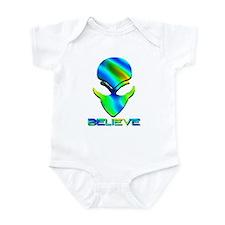 Greenish Blue Believe Alien Infant Bodysuit