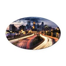 Downtown Minneapolis skyline and l Oval Car Magnet