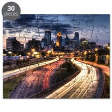 Downtown Minneapolis skyline and light trai Puzzle