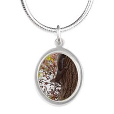 Squirrel Silver Oval Necklace