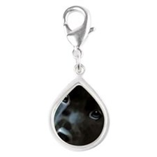 black lab Silver Teardrop Charm
