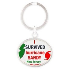 I SURVIVED HURRICANE SANDY NJ Oval Keychain