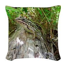 Frog on a log Woven Throw Pillow