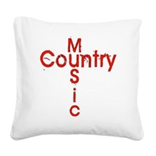 Country Music Cross Square Canvas Pillow