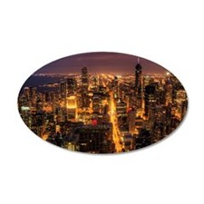 Night cityscape of Chicago. Wall Decal