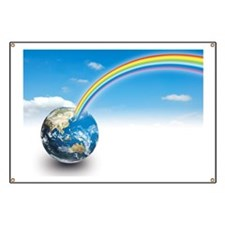 Rainbow coming out of planet earth Banner