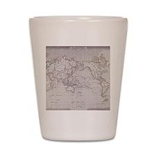 Planispheric Map of the World Shot Glass